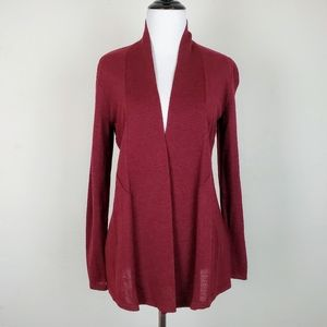 Eileen Fisher Burgandy Red Wool Cardigan Sweater